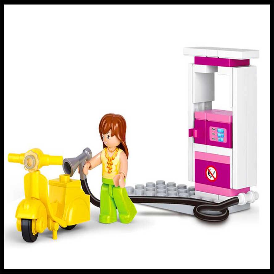 6 sztuk/zestaw deskorolka chłopiec psia buda skrzynka na listy Pet Beauty koń stacja benzynowa zabawki budowlane dla dzieci conruction