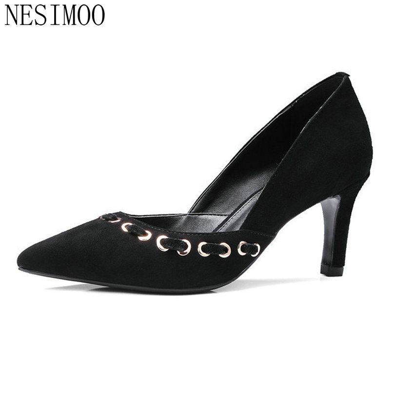 NESIMOO 2018 Spring Women Pumps Pointed Toe Thin High Heel Kid Suede Slip on Ladies Wedding Shoes Size 34-39 стоимость
