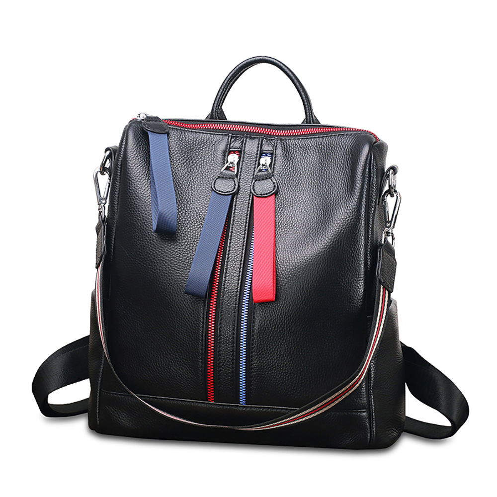 Chic Hit Color Stripe Double Zipper School Bags for Teenage Girls Cowhide Leather Rucksack Large Women