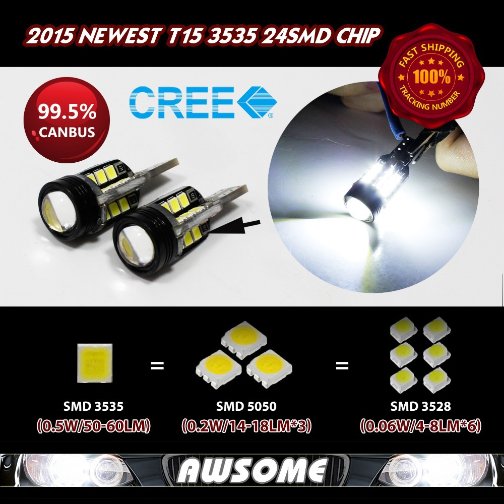 2x T15 W16W 921 LED CANBUS 3535 24SMD Strong Bright White w/ Projector Lens Car Turn Singal LED Light Bulb 1200LM-1400LM