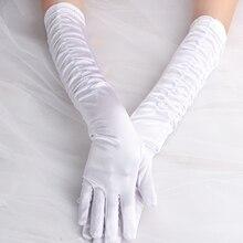 Белый пот девушка женщины леди свадебный танцевальный костюм вечерние длинные перчатки с кружевом