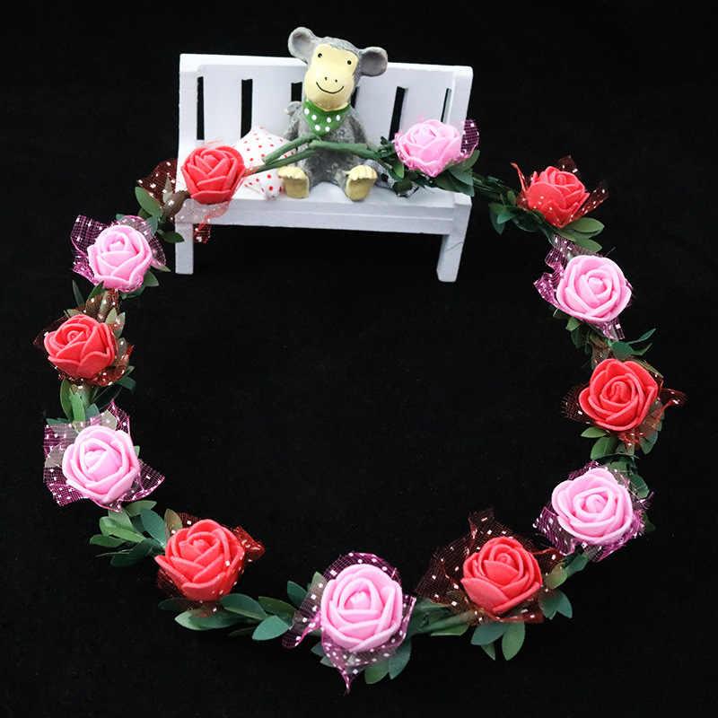 Nuevo niño niños encantadora flor cristal coronas tiaras nupciales magnífica diadema de diamantes de imitación para accesorios para el cabello de fiesta de princesa