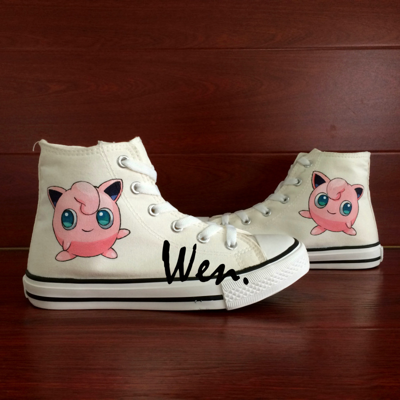 ФОТО Wen Hand Painted Shoes Design Custom Anime Sneakers Pokemon Pocket Monster Jigglypuff  Men Women's High Top Canvas Sneakers