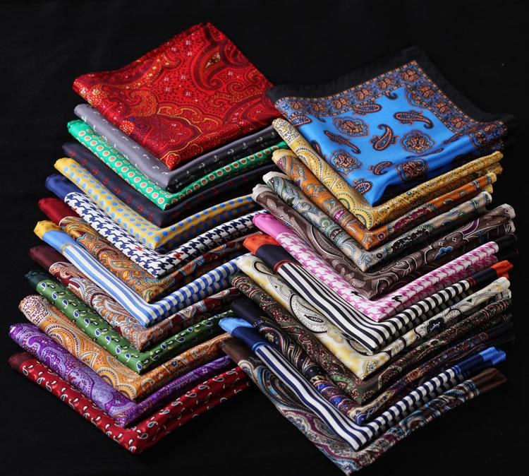 RC Polka Dot Paisley Floral Anchor Handkerchief 100% Natural Silk Satin Mens Hanky Fashion Classic Wedding Party Pocket Square
