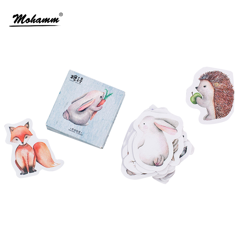 45pcs/lot Cute Forest Animals Decoration Adhesive Stickers Diy Cartoon Stickers Diary Sticker Scrapbook Stationery Stickers 8 pcs lot funny sticker cute bear penguin cat decorative adhesive for diary letter scrapbook school supplies stationery