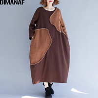 8f780fec1f2 DIMANAF Women Dresses Winter Long Sleeve Linen Lady Patchwork Vintage  Vestido Female Clothes Plus Size Loose