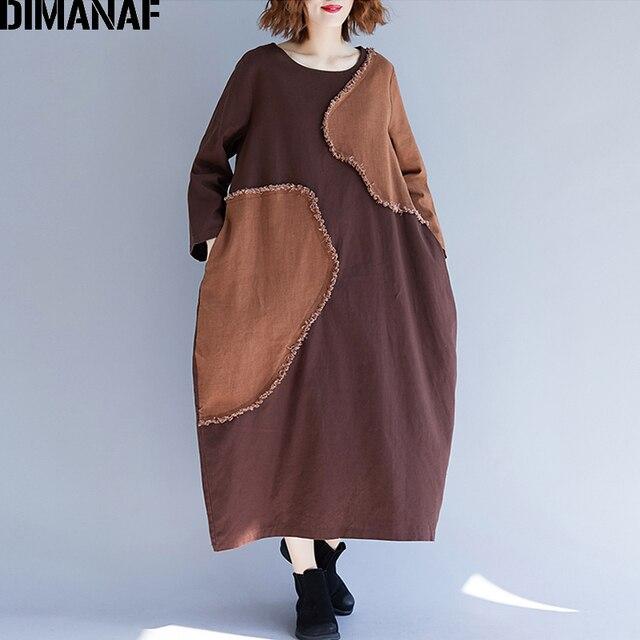 54e3416fe21 DIMANAF Women Dresses Winter Long Sleeve Linen Lady Patchwork Vintage Vestido  Female Clothes Plus Size Loose Panelled Dress 2018