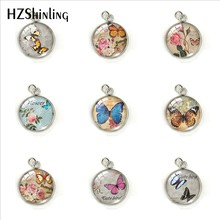 Vintage Butterfly Postcard Stamp Patterns Glass Round Dome Charms Pendant Hand Craft Stainless Steel Jewelry Pendants Gifts(China)