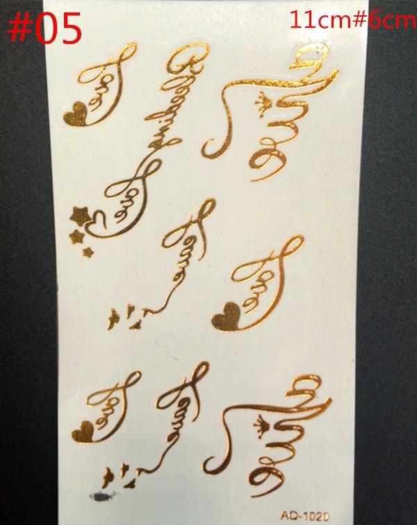 ④Oro y plata dorada polígono inglés letras tatuajes impermeable al ...