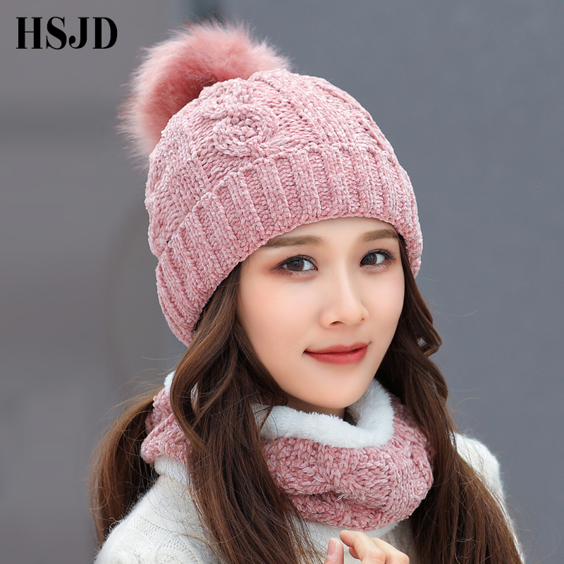 Winter Women's Hat Caps Soft Chenille Knitted Hats Scarf hat 2 Pieces Set Thick Balaclava Ski Cap   Skullies     Beanies   female cap