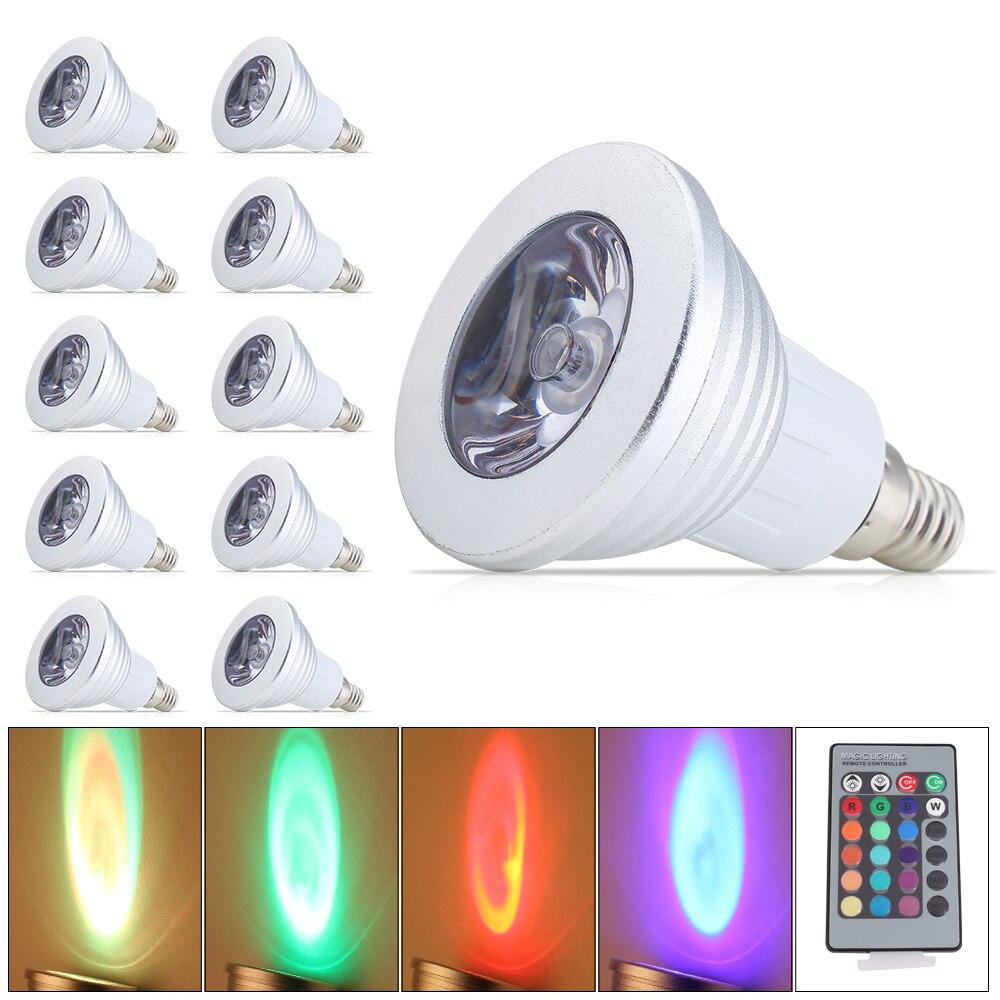 10x16 couleurs RGB lumière lampe pleine LED de couleur ampoule LED spot de changement projecteur E14 3 W télécommande intelligente éclairage pour la maison