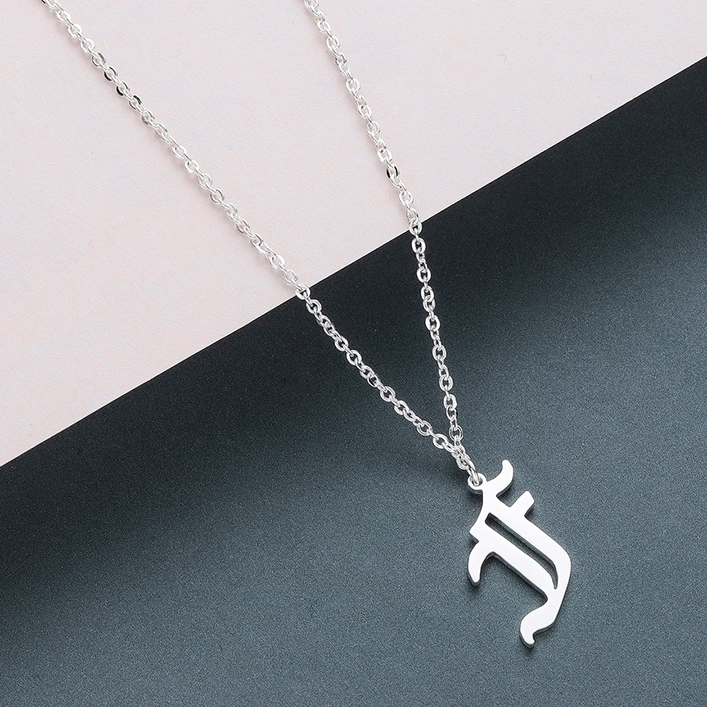 Todorova Old English Custom Capital Initial A-Z Letter Pendant Necklace Men Vintage Font Personalized Necklace Women Jewelry 18