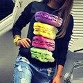 Harajuku 3D Macaron Donuts Print Hoodies Pulovers Women Kawaii Chandal Mujer Femme Tops Autumn Shirt