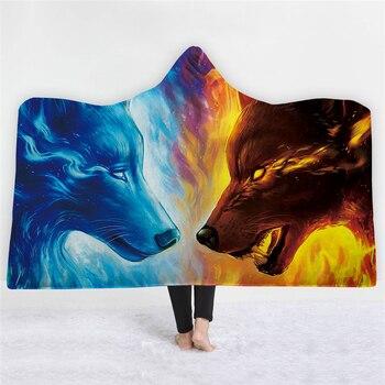 3d สัตว์หมาป่า Tiger พิมพ์ Hooded ผ้าห่มสำหรับผู้ใหญ่เด็ก Warm Wearable ขนแกะผู้หญิงโยนผ้าห่มไมโครไฟ