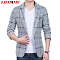 LONMMY 2016 Plaid blazer men One buckle Unique mens blazers wedding dress slim fit jaqueta men suit for men coat Casual