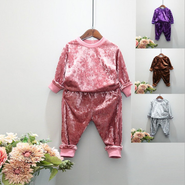 Kids Clothing Set Outfits Spring Fall Baby Girl Hoodies Gold velvet + Sport Causal Pants Two Piece Set Top and Pants Sport Suit