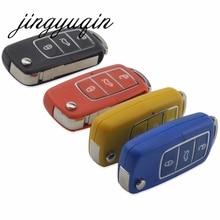 Jingyuqin 10 шт./лот Флип складной Ключи В виде ракушки для Volkswagen VW Jetta Гольф Passat Beetle Мужские поло Бора 3 Пуговицы дистанционного FOB чехол