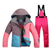 Female Snow Suit Sets Three Colorful High Quality Girl Ski Suit Sets 10K Waterproof Windproof Warm