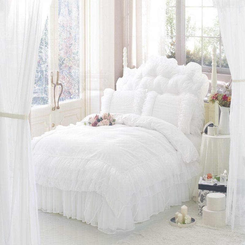 Solid Color Princess Bedding Sets Luxury 4pc Snow White