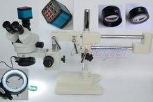 FYSCOPE 顕微鏡セット 3.5X 90X Double ブームスタンドステレオズーム三眼標準顕微鏡 + 14MP HDMI カメラ + 144 個 Led ライト