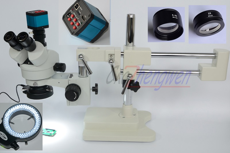 FYSCOPE Microscope Ensemble 3.5X-90X Double Boom Stand Stéréo Zoom Trinoculaire Microscope Standard + 14MP HDMI Caméra + 144 pcs Led Lumière