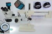 FYSCOPE Microscope Set 3.5X 90X Double Boom Stand Stereo Zoom Trinocular Standard Microscope+14MP HDMI Camera +144pcs Led Light