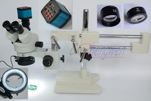 FYSCOPE mikroskop seti 3.5X 90X çift Boom standı Stereo Zoom trinoküler standart mikroskop + 14MP HDMI kamera + 144 adet led ışık