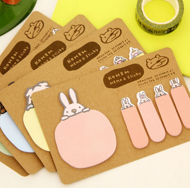 Cute cartoon animals Sticky Notes kraft paper pig rabbit Memo Pads post it bookmark Office school papeleria