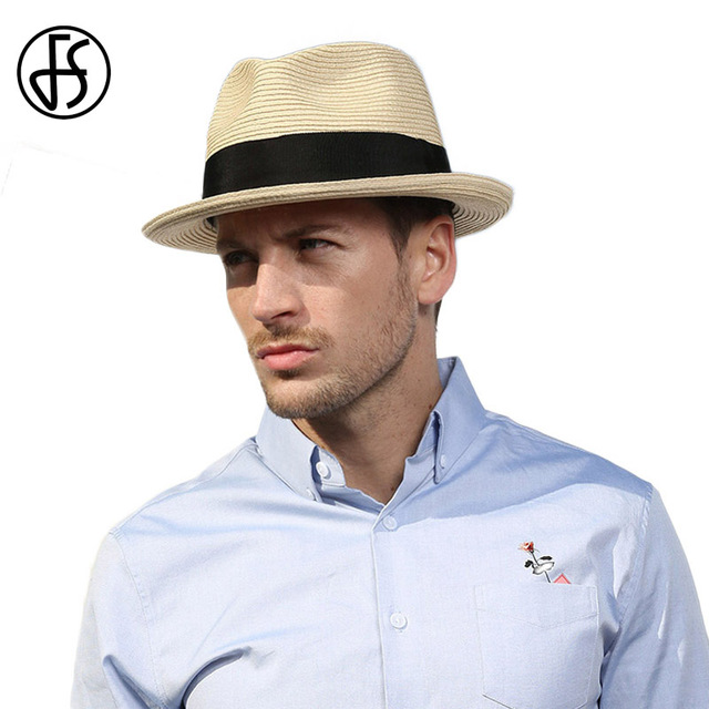 cc52573883a FS Summer Beach Panama Hat Men Straw Wide Brim Sun Hats For Mens Casual  Trilby Gangster Fedora Male Jazz Sombrero Chapeau Femme