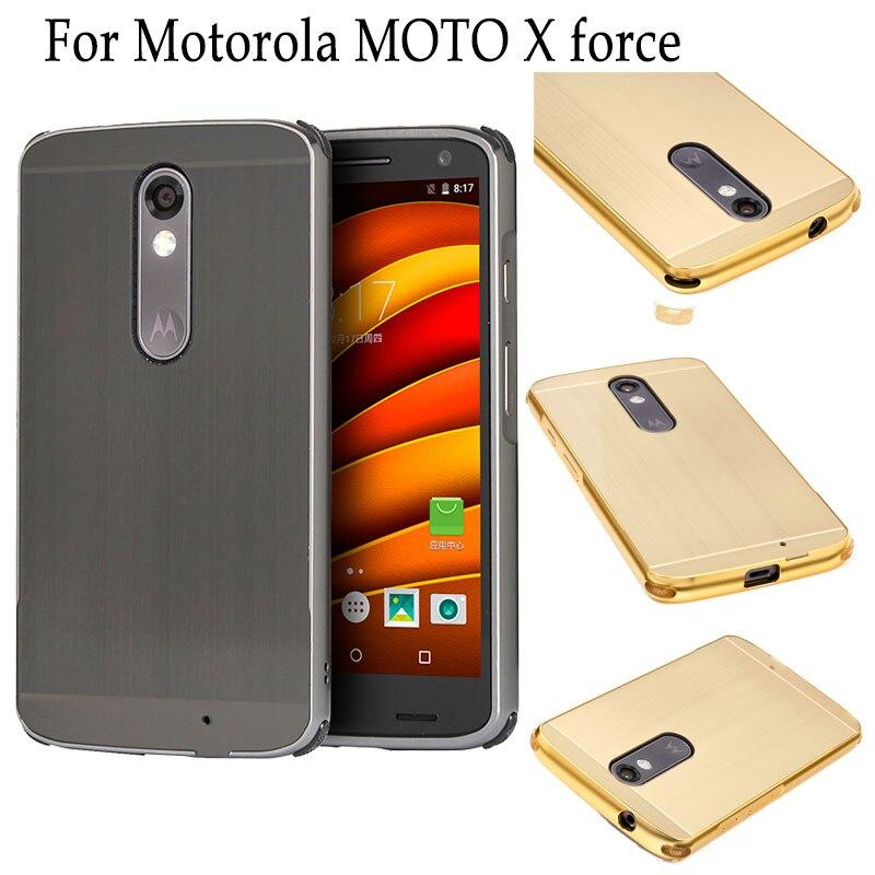 Accesorios del teléfono celular para motorola moto x force case cepillado pc bac