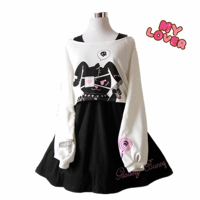198b8bc4e9 Fashion New Japanese Lolita Spring Summer Cartoon Rabbit Print 2 Pcs Suit  girls Top+Dress