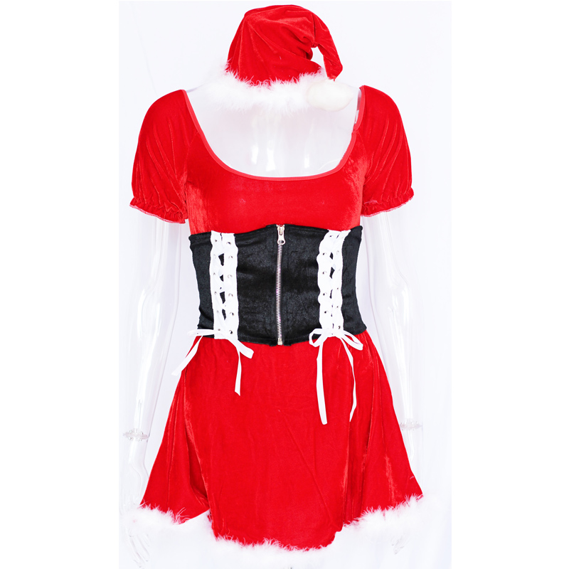 Little Red Hood Off Shoulder Christmas Dress Carnival Cosplay Red - Կարնավալային հագուստները - Լուսանկար 5