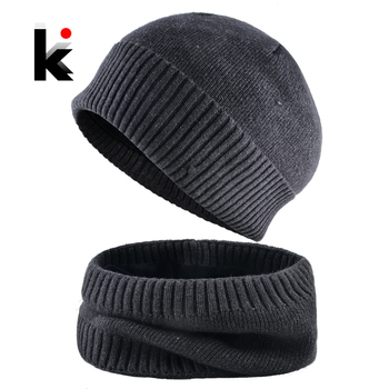 Winter Skullies Beanies Men Warm Hat Set Solid Color Knitted Beanie and Scarf For Women Add Velvet Knitting Unisex Bonnet Sets 1