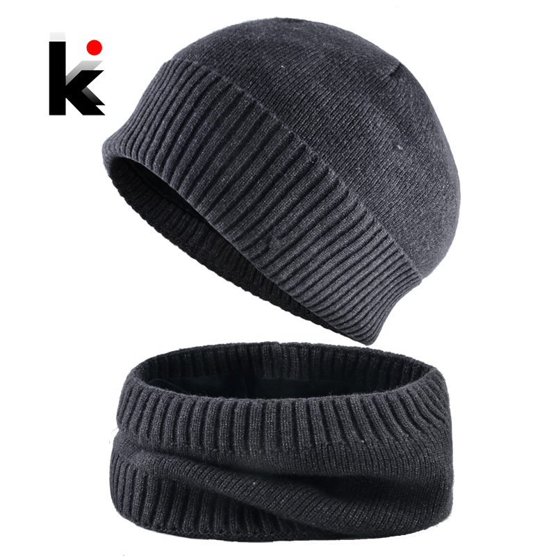 Winter Skullies Beanies Men Warm Hat Set Solid Color Knitted Beanie And Scarf For Women Add Velvet Knitting Unisex Bonnet Sets
