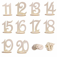20 PCS Rustic Wood Table Numbers Stand Shabby Chic Coffee House Hotel Wooden Table Decor Country Style Wedding Table Decorations