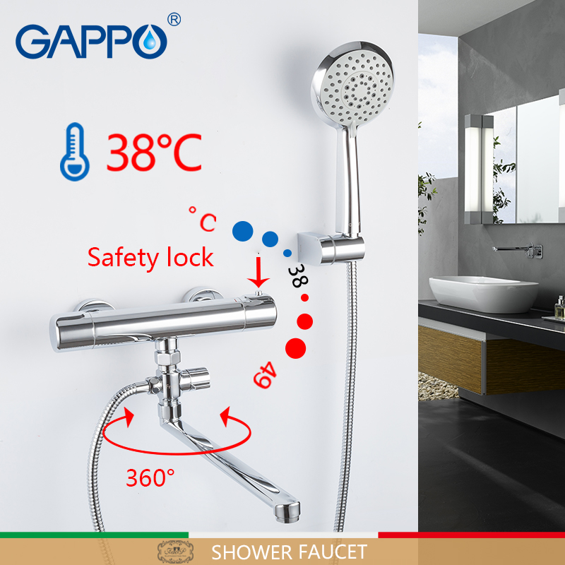 GAPPO Shower Faucet thermostatic bath bathtub faucets wall thermostat shower set mitigeur baignoire brass thermostatic faucet gappo bathtub faucet thermostatic shower mixers in wall faucets shower faucet thermostatic thermostat taps