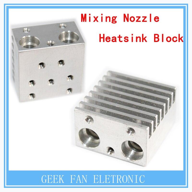 3D printer parts 3D printer single head color mixing nozzle heatsink 30 30 18mm 3D metal