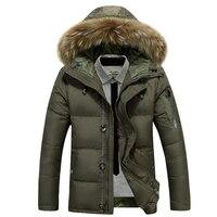 2018 new arrival men's thick warm winter down coat fur collar army green men parka big yards long cotton coat jacket parka men