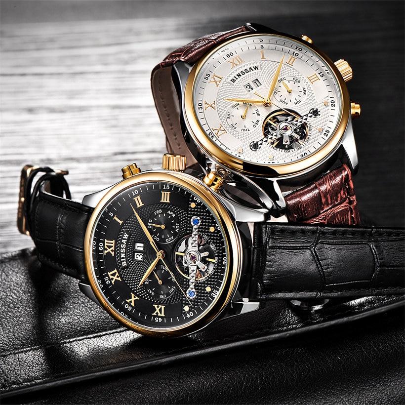 Binssaw Herenhorloges Mechanisch Horloge Duik 50m Kalender Gouden - Herenhorloges - Foto 4