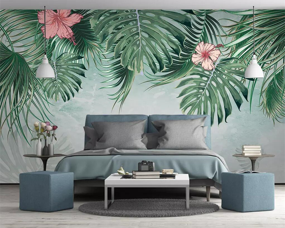 Beibehang Southeast Asia Tropical Rainforest Leaves Background Wallpaper Living Room Bedroom TV Mural 3d wallpaper