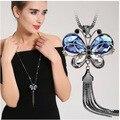 Las nuevas 2016 mujeres collar azul cristalino de la mariposa de cadena larga del suéter