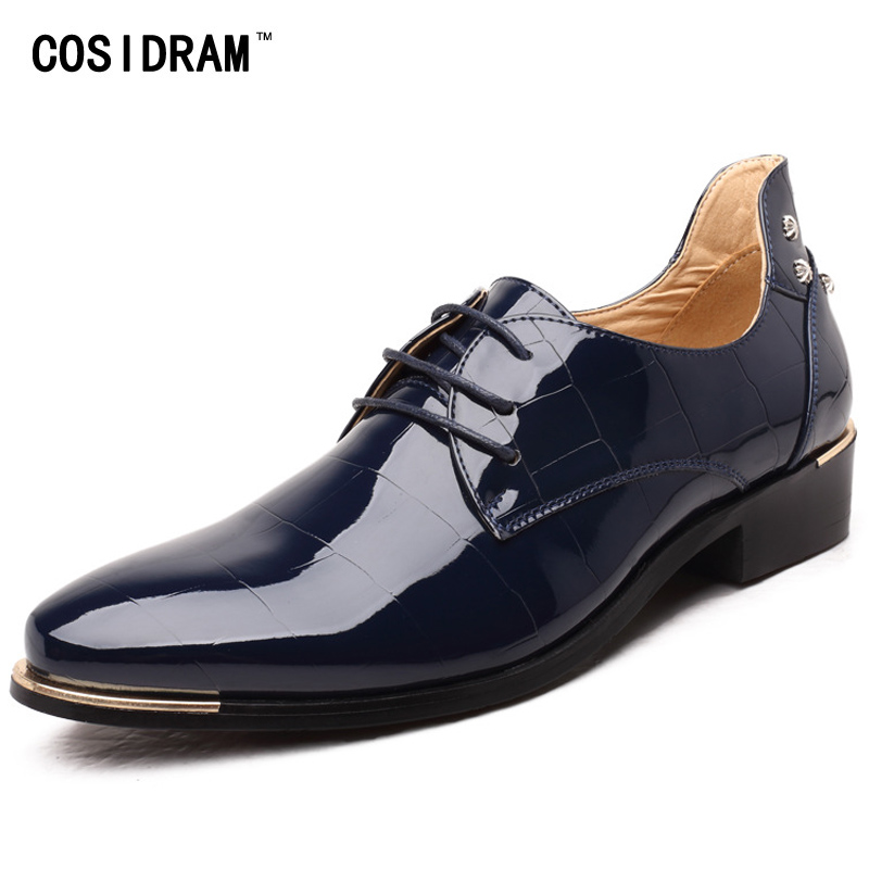 COSIDRAM Pointed Patent Leather Oxford Shoes For Men Dress Shoes Business Wedding Men Formal Shoes Plus Size 45 46 47 48 RME-304