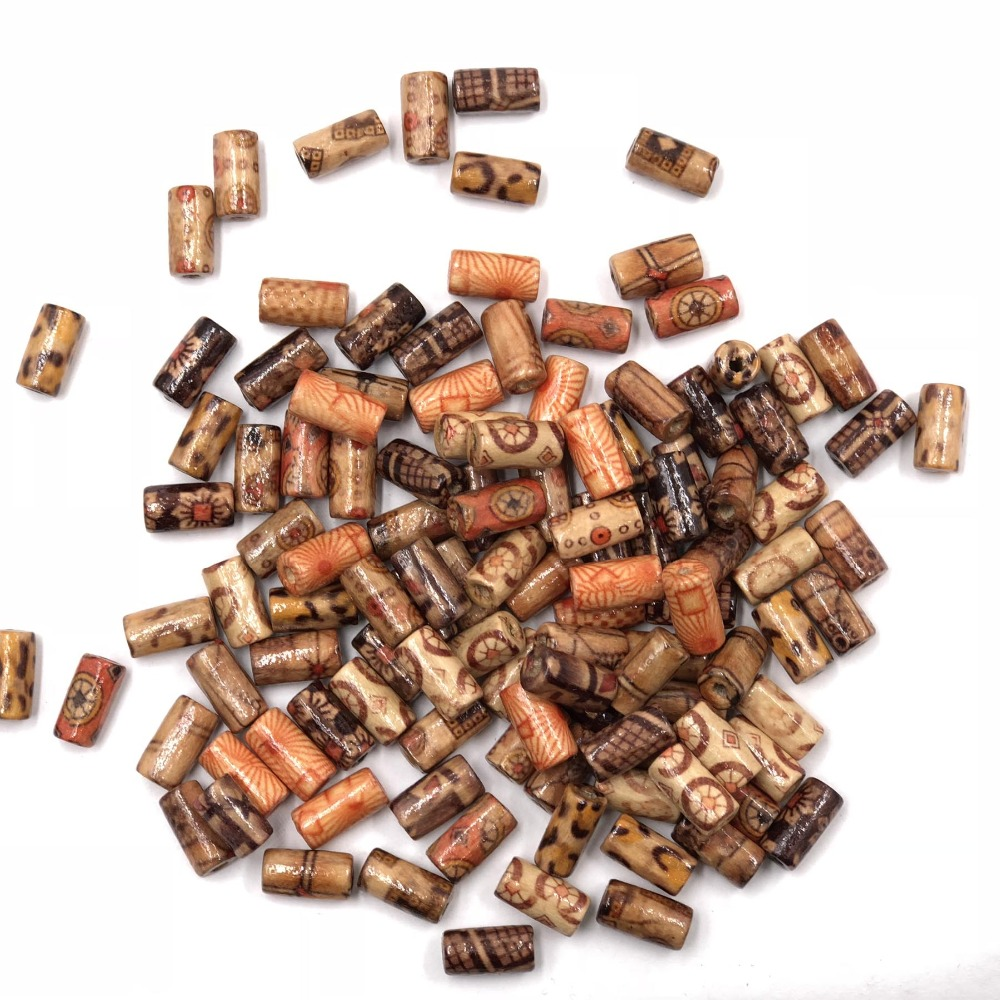 100Pcs/Pack 12mm*6mm Randomly Mixed Barrel Pattern Wooden Beads Loose Spacer For Charm Bracelet Wholesale(China)