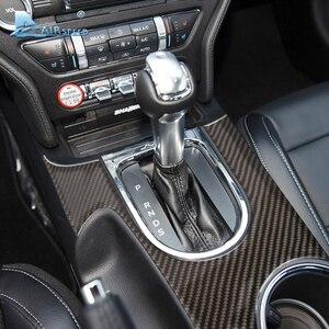 Image 2 - Airspeed Carbon Fiber Car Gearshift Panel dekoracyjne pokrycie Ford Mustang 2015 2017 konsola środkowa akcesoria samochodowe stylizacja samochodu