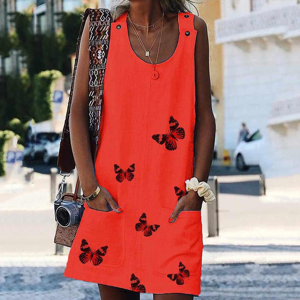 Le donne O-Neck Senza Maniche Spalla Chiusura a Farfalla Della Stampa di Cotone E di Lino Abiti Casual Vestito Da Estate Del Vestito Donna Plus Size Abiti al ginocchio