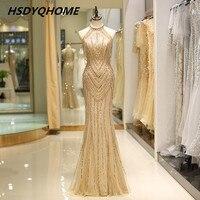 HSDYQHOME роскошное Русалка вечерние платья, украшенные бисером удивительные золотые мягкие тюль выпускного вечера нарядное платье с бусами дл