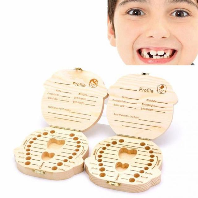 Baby Milk Teeth Wooden Box Baby Souvenirs Fetal Hair Tooth Collection Save Box Recording Baby Growth