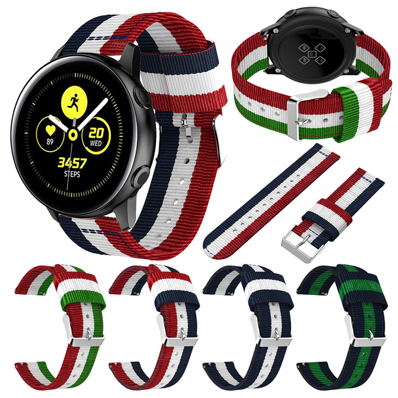 22mm 20mm Nylon Canvas Strap For Samsung Gear S3 S2 Galaxy Watch Frontier Huami Band 46mm 42mm Sport Replacement Stripe Bracelet
