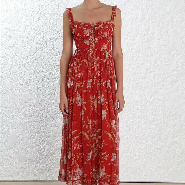 Red Floral Pin Tuck Jumpsuits  Women Sexy Silk Off Shoulder Ruffles Straps Loose Jumpsuit Holiday Casual Bohemian Cloth