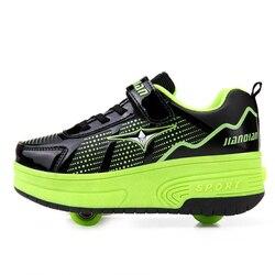 Heelys buty Super świetlne tenisówki z kołem chłopiec rolka sprężynowa Skate obuwie casual dziewczyna Zapatillas Zapatos Con Ruedas zielony w Trampki od Matka i dzieci na